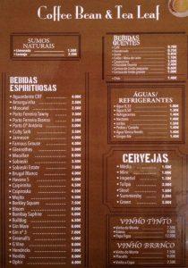 Daftar Harga Menu Coffee Bean dan Tea Leaf