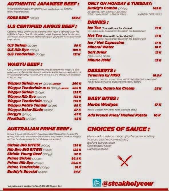 harga menu holycow steak