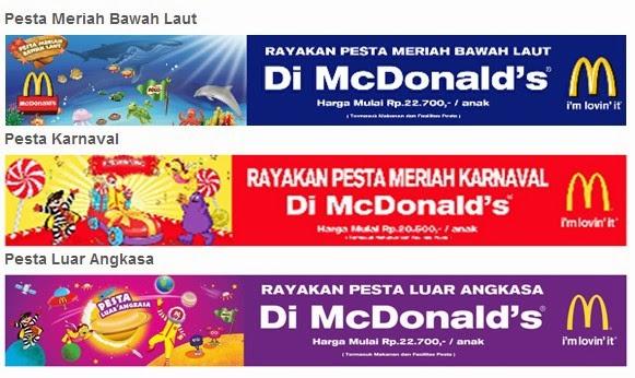 Paket Pesta Ulang Tahun di McDonald Indonesia