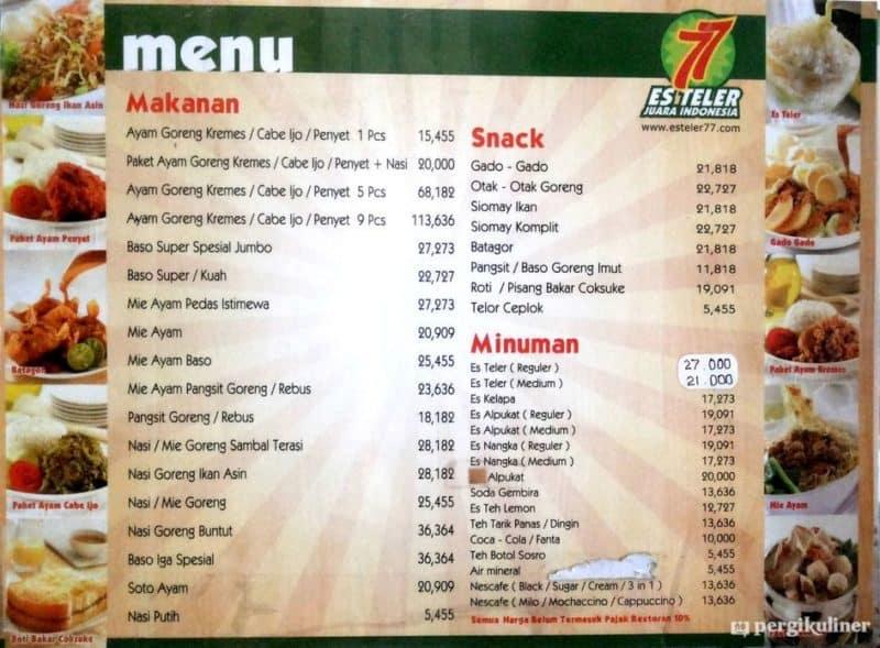 daftar menu harga es teler 77