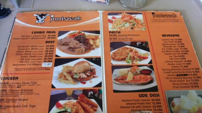 Harga Menu Joni Steak