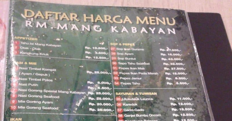 Harga Menu Mang Kabayan