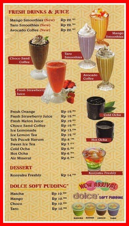 daftar menu gokana minuman jus