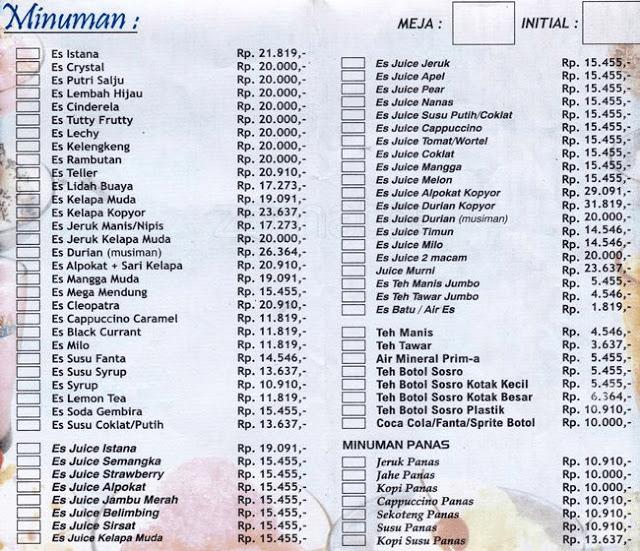 Daftar Harga Menu Istana Mie Dan Es Semarang Yang Melegenda