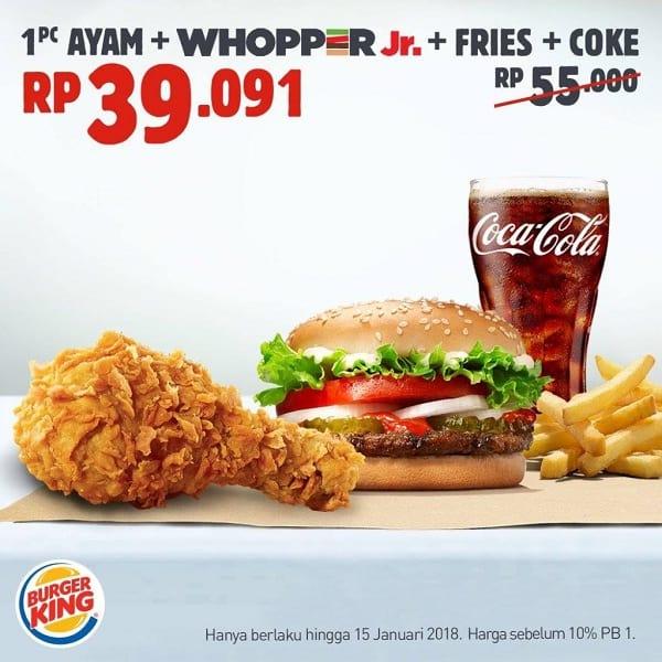 Burger King Kupon HEMAT Hingga Rp. 17ribuan Sampai 15 Desember 2018