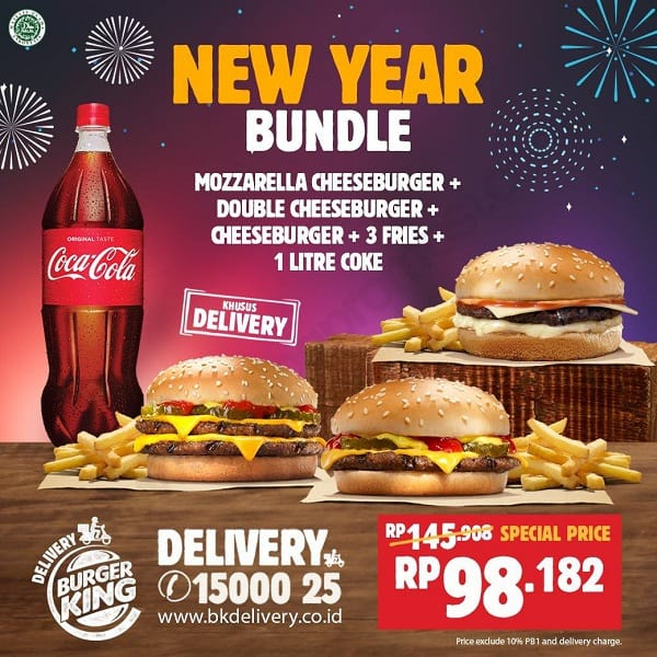 Burger King New Years Promo Khusus Delivery Harga Rp. 98.182
