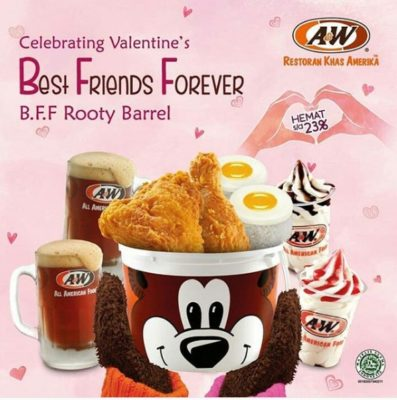 Hemat 23% Dengan A&W Special Valentine's Best Friend Forever
