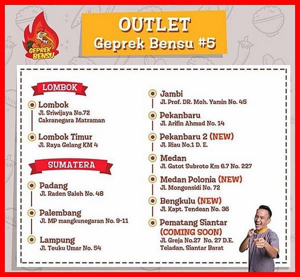 Alamat Lokasi Outlet Ayam Geprek Bensu Sumatera Lombok
